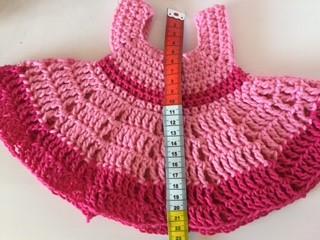liten rosa klänning docka mått längd
